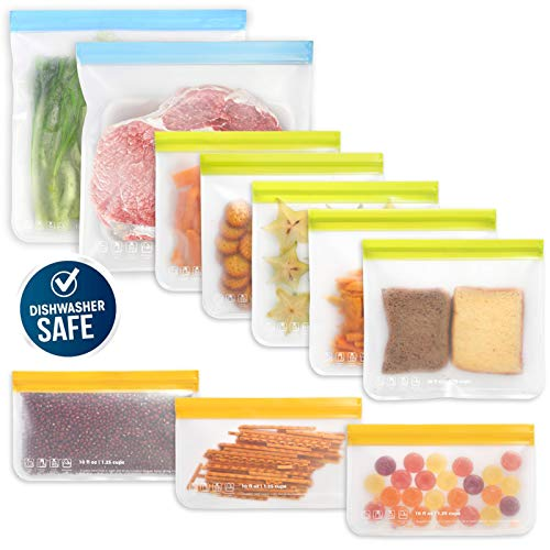 10 Pack Dishwasher Safe Reusable Food Storage Bags (5 Reusable Sandwich Bags, 3 Reusable Snack Bags, 2 Freezer Gallon Bags), Extra Thick Leakproof Silicone Free Plastic Bags