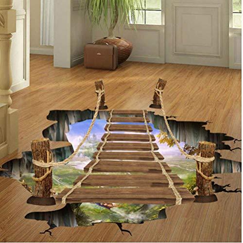 60x90cm Niños 3D Puente Flotante Piso Dormitorio Etiqueta Niños Sala De Estar Decorativo Pegatinas Extraíble Ambiental