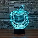 Bitten Apple Deko Schreibtisch Tischlampe Led Optische Illusionslampe 3D Nachtlicht Angebissener Apfel Mit Fernbedienung Und 7 Farb Touch Und Dimmbaren Funktionen Usb Betrieben Für Festival Dekoration