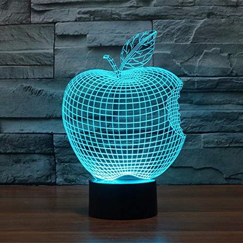 Bitten Apple Deko Schreibtisch Tischlampe Led Optische Illusionslampe 3D Nachtlicht Mit Fernbedienung Und 7 Farb Touch Und Dimmbaren Funktionen Usb Betrieben Für Festival Dekoration