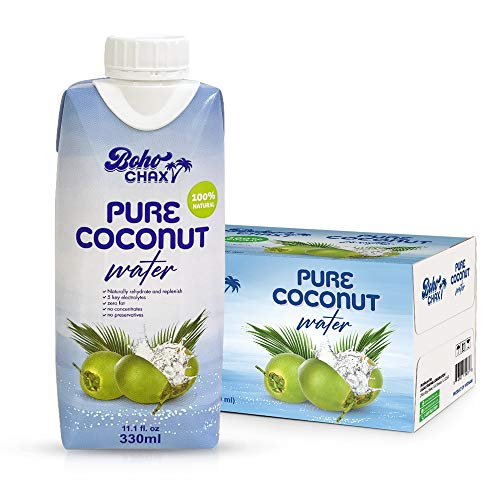 100% Natural Pure Coconut Water, Not From Concentrate Drink with No Added Sugar   Replenishes Essential Vitamins and Electrolytes for Superior Hydration   11.16 Fl Oz Cartons   12-Pack by Boho Chax