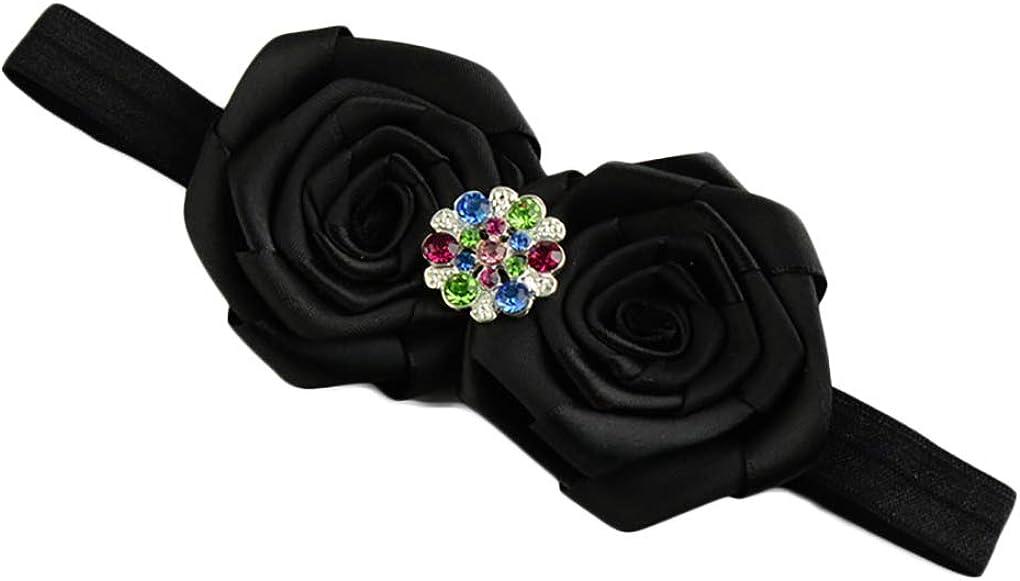 Baby Rose Flower Headband with Color Crystal Girls Flower Headwear Hairband JB59