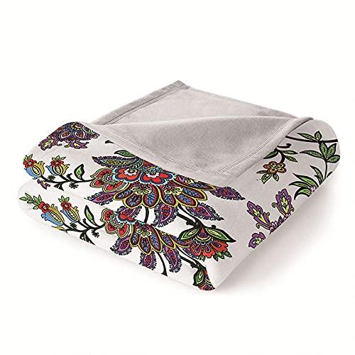 Mantas para Sofa Batamanta Mujer de Franela y Sherpa Manta Bebe Sofa Mantas con Estampados para la Cama y el Sofá 130x150 cm Flor Colorida