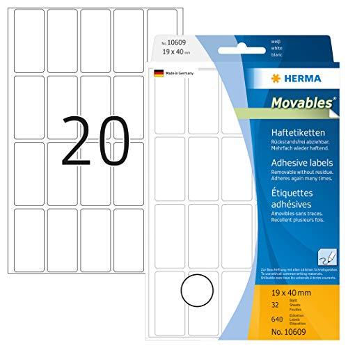 HERMA 10609 Vielzweck-Etiketten ablösbar (19 x 40 mm, 32 Blatt, Papier, matt) selbstklebend, Haushaltsetiketten zur Handbeschriftung, 640 Haftetiketten, weiß