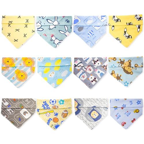 Dosolsollasol 12pcs Babero Bebe Bandana Baberos Bebé Algodón para Recien Nacido Niña Niño (Azul)