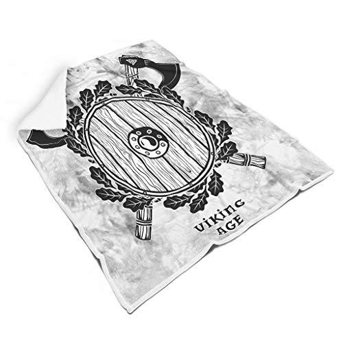 FFanClassic Wikinger-Bademantel mit originellem Hippie-Muster – Wikinger passt zur Mittagszeit für Damen/Herren, Geschenk, weiß, 152,4 x 203,2 cm