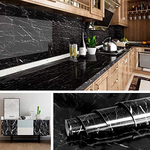 Livelynine Klebefolie Marmor Folie Schwarz Selbstklebende Folie für Möbel Küchenarbeitsplatte Laptop Fensterbank Folie Arbeitsplatte Küche Tisch Schrank Schminktisch Dekofolie Marmor Tapete 40CMX2M
