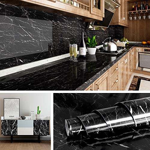 Livelynine 15.8x394 Inch Black Marble Wall Paper Peel and Stick Countertops Kitchen Wallpaper Self Adhesive Backsplash for Bathroom Counter Marble Paper Adhesive Shelf Liner