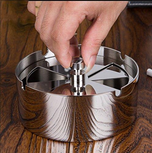 sheng Cendrier cendrier coupe-vent avec couvercle couvercle de fumée tournant en acier inoxydable 12.7 * 5cm ( taille : 12.7*5cm )