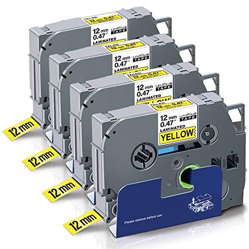 UniPlus Nastro Cassette Etichette Compatibile per Brother TZ Tape Tze-631 Tze631 Nastro Laminato per Brother PTouch Cube GL-H100 PT H100LB 1000 H107 H101C H105 H101C, 12mm x 8m, Nero su Giallo, 4 Pz