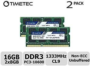 Timetec Hynix IC 16GB Kit (2x8GB) DDR3 1333MHz PC3-10600 Unbuffered Non-ECC 1.5V CL9 2Rx8 Dual Rank 204 Pin SODIMM Portatil Memoria Principal Module Upgrade (16GB Kit (2x8GB))