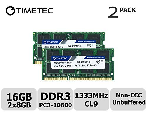 Timetec Hynix IC 16GB Kit (2x8GB) DDR3 1333MHz PC3-10600 Unbuffered Non-ECC 1.5V CL9 2Rx8 Dual Rank 204 Pin SODIMM Portatil Memoria Principal Module Upgrade (16GB Kit (2x8GB))