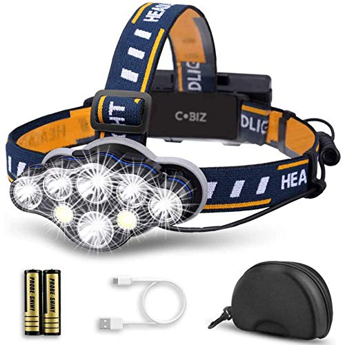 Cobiz LED Headlamp Rechargeable 2020 Newest 13000 Lumen Ultra Bright 8LED Headlight Flashlight with White Red Lights, USB Rechargeable Head Lamp, 8 Modes for Outdoor Camping Running Fishing