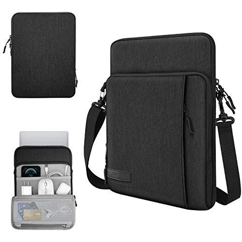 TiMOVO 13.3 Inch Tableta Funda de Tableta para iPad Pro 12.9 2020, MacBook Air 13 Inch, MacBook Pro 13', Galaxy Tab S7+, Surface Pro X/7/6/5/4/3, Portátil con Múltiples Bolsillos, Negro
