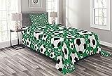 ABAKUHAUS Fußball Tagesdecke Set, Sportmotiv, Set mit Kissenbezügen Sommerdecke, für Einzelbetten 170 x 220 cm, Weiß Schwarz Grün