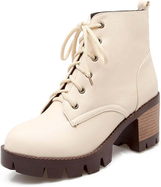 Lucksender Womens Round Toe Lace Up Platform Martin Boots