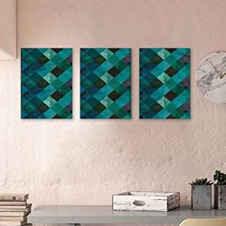 """Emerald Paintings Oil Intertwined Lines Checkered Wall Art on Canvas Decorative Painted Sofa Background Wall 16""""x24""""x3 Pcs"""