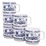 KAHLA 480265A72005A Zwiebelmuster blau Becherset für 6 Personen Kaffeebecher Set 6-teilig 300 ml Henkelbecher Porzellanbecher Tee Kakao Tassenset