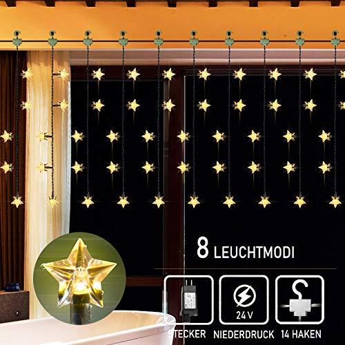 60 Sterne Lichtervorhang Lichterkette,2m LED Lichtervorhang Sternenvorhang 8 Modi Innen Außen Sterne Vorhang Decorationslichter Für Party,Hochzeit,Garten, Balkon,Schlafzimmer Deko, warmweiß