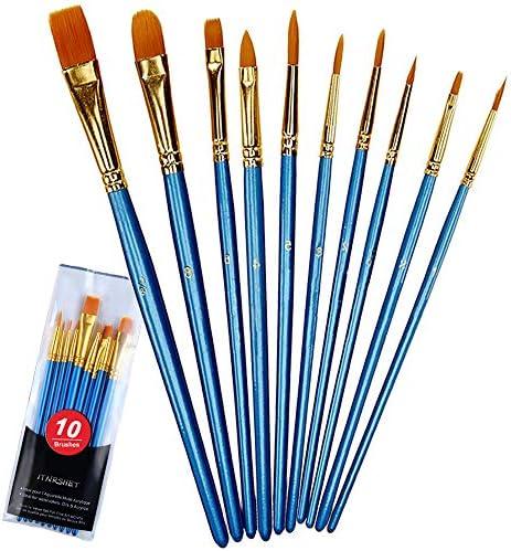 Acrylic Paint Brushes Set 10pcs Round Pointed Nylon Hair Paint Brush Set Fine Tip Miniature product image