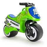 INJUSA – Moto Porteur Neox Kawasaki Couleur Vert avec Licence Officiel. Recommandé pour Les Enfants +18 Mois avec Décoration Permanente et Poignée de Transport
