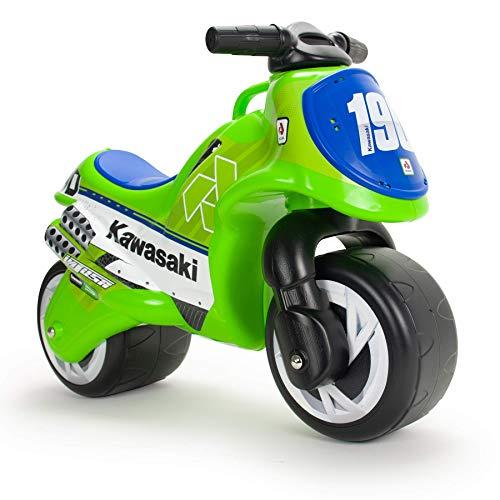 INJUSA - Moto Cavalcabile Kawasaki con Licenza Ufficiale Consigliata per Bambini +18 Mesi con Decorazione Permanente e Maniglia per il Trasporto