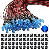 RUNCCI-YUN 65Pcs 5mm Luces LED de Diodo 12V DC Pre Wired LED Diodos Emisores de Luz Lámpara+ 65Pcs 5mm Plástico Soporte de LED Clip Montaje para DIY Coche Barco Juguetes Partes (azul)