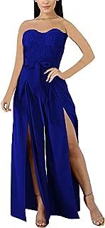 Women Off Shoulder Floral Jumpsuits Elegant Lace Strapless Zipper Sleeveless Wide Leg Pants Long Romper Party Coacktail