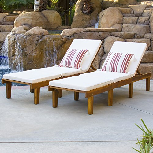 Best Choice Products Set Of 2 Outdoor Patio Poolside Acacia Wood Chaise Lounge Chairs w/ Cushions, Brown