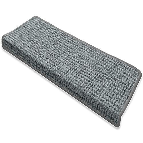 casa pura Stufenmatten Carlton   Flachgewebe dezent Gemustert   Treppenteppich in Zwei Formen   mit Teppich Läufer kombinierbar (Hellgrau - rechteckig - 15 Stück)