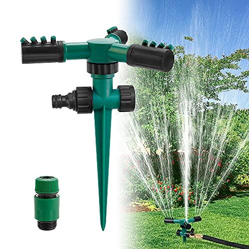 KBNIAN Rasensprenger Garten Sprinkler 360 Grad Rotierende Rasensprinkler Automatische Bewässerungssystem 3-Arme Wasser Sprinkler für Pflanzen, Blumen, Gemüse, Rasen