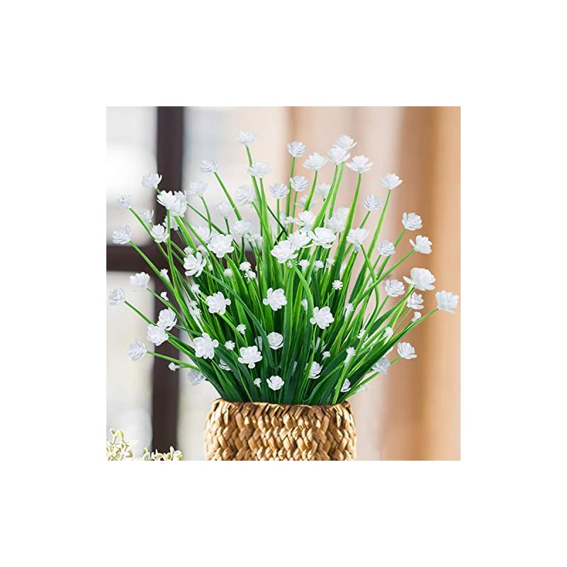 silk flower arrangements udefineit 3 budles artificial narcissus flower, outdoor uv resistant plastic boxwood shrubs fake greenery bushes daffodils bouquet for patio yard wedding home hotel farmhouse indoor decor - white