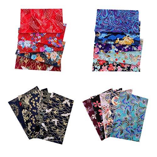 freneci 20pcs Japanische Muster Stoffpakete Baumwollstoffe Patchwork Stoffreste Baumwolle DIY Basteln 20 x 25 cm Quilten Stoffe