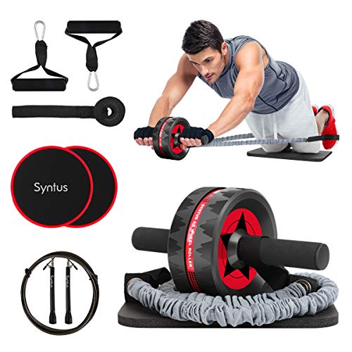 Syntus 10-in-1 AB Wheel Roller with Knee Pads Resistance Bands Handles Grips Adjustable Skipping Jump Rope Core Sliders Door Anchor, Carry Bag & Guide BookHome Gym Workout Exercise