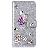 IKASEFU Compatible with iPhone X/XS Case Glitter Shiny butterfly Rhinestone Floral Pu Leather Diamond Flash Bling Wallet Strap Case with Card Holder Magnetic Kickstand Feature Flip Cover Case,Silver