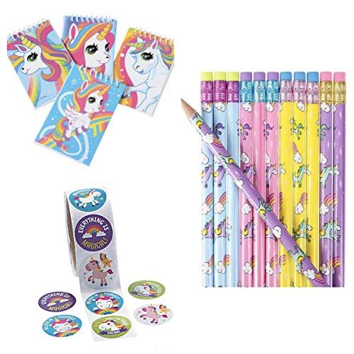 (48) Unicorn Party Favors - 24 Mini NOTEBOOKS - 24 Pencils & 48 Stickers - Girl Birthday Teacher Classroom Rewards Rainbow