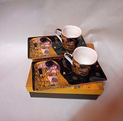 Atelier Harmony Kaffeetassenset Gustav Klimt Espressoset Der Kuss schwarz inkl. Geschenkbox Espressotassen Geschenkset