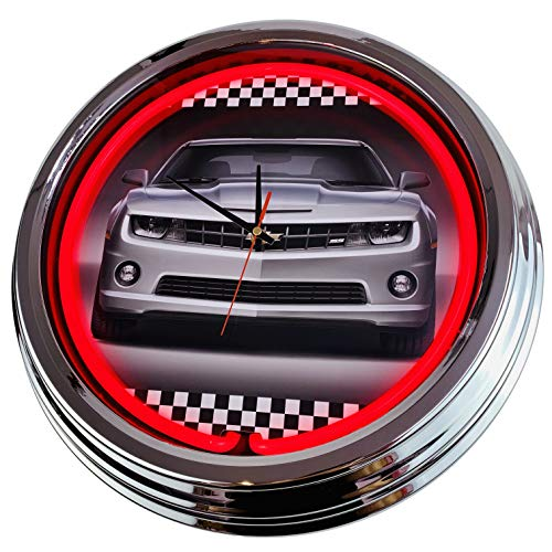 Neon Uhr Camaro Chevrolett Wanduhr Deko-Uhr Leuchtuhr USA 50's Style Retro Neonuhr Esszimmer Küche Wohnzimmer Büro (Rot)