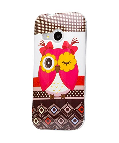 iCues HTC One Mini 2 - M8 Mini    Design TPU Case Blumen Eule Owl Eule Mädchen   [Display Schutzfolie Inklusive] Damen Frauen Mädchen Silikon Gel Motiv Muster Schutzhülle Hülle Cover Schutz