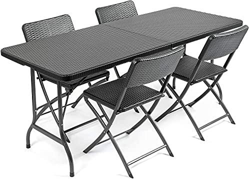 SUN RNPP Juego de Muebles de jardín, Juego de Muebles de jardín con Efecto de ratán, Mesa de Comedor Plegable de 6 pies, 4 sillas
