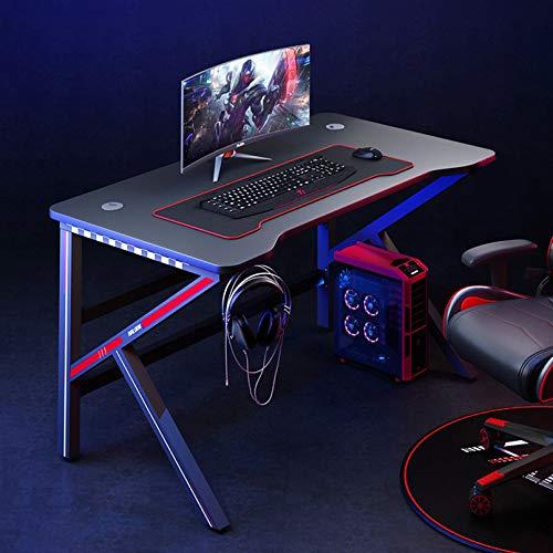 XM&LZ K Forma Computadora Mesa para Gaming,Oficina Pc Puesto De Trabajo con Soporte para Auriculares,Moderno Jugador Escritorio Escritura para El Gaming Laptop-Negro 90x50x75cm(35x20x30inch)