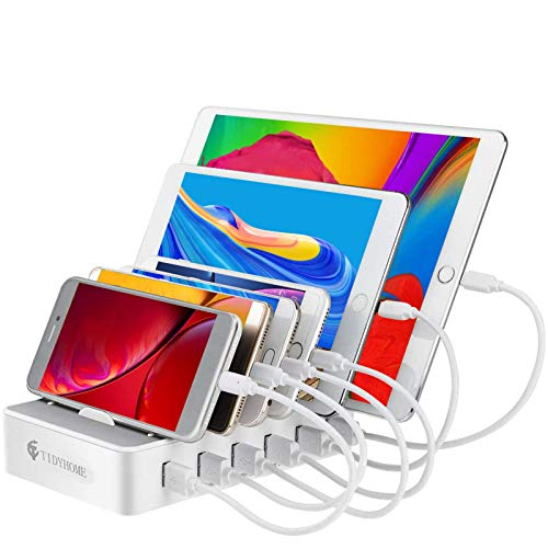 Charging Station for Multiple Devices, 6 USB Fast Ports and 6 Mixed USB Cables Included, for iPhones, Airpods,Mini iPads, and Other Electronics, White