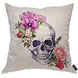 EKOBLA Skull Throw Pillow Cover Watercolor Pink Red Flowers Vintage Boho Style Skeleton with Feather Cozy Square Cushion Case for Men Women Boys Girls Room Home Decor Cotton Linen 18x18 Inch