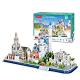 Rompecabezas 3D Atracciones mundialmente Famosas, Edificio de la Ciudad Modelo de ensamblaje Combinado Juguetes educativos Insertar Juguetes para niños(Bavaria, Germany)