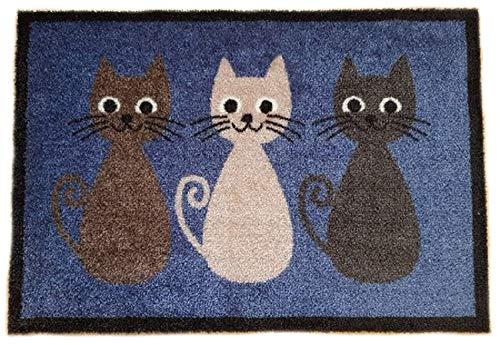 Trendstern® Trendprodukteshop Fußmatte Fußabtreter Fußabstreifer Schmutzmatte Motiv Design Eule Cat Katze Hund Dog OWL (blau-Katzen)