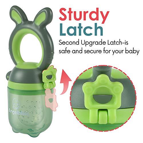 ANGELBLISS Fruchtsauger Baby/Schnuller, Schätzchen Schnuller Gemüse sauger für 3-24 Monate, 6 Silikonbeutel Beißspielzeug,BPA-frei(2 Stück) - 4
