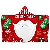 Manta con capucha para llevar con capucha roja de Papá Noel suave manta de lana de coral Poncho cálido y acogedor para niños y adultos, regalo de 51 x 59 pulgadas