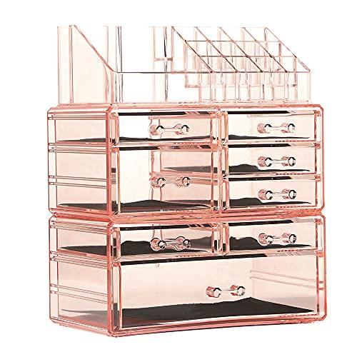 Organizador de maquillaje acrílico para encimera, 3 piezas, diseño apilable, soporte de almacenamiento de cosméticos con 8 cajones,...