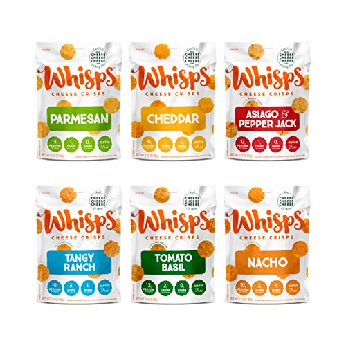 Whisps Cheese Crisps 6-Flavor Variety Pack   Parmesan, Cheddar, Asiago & Pepper Jack, Tangy Ranch, Tomato Basil, Nacho   Keto Snack, Gluten Free, Low Sugar, Low Carb, High Protein   2.12oz (6 Pack)