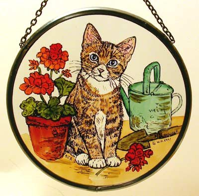 Decorative Hand Painted Stained Glass Window Sun Catcher/Roundel in a Kitten and Geraniums Design